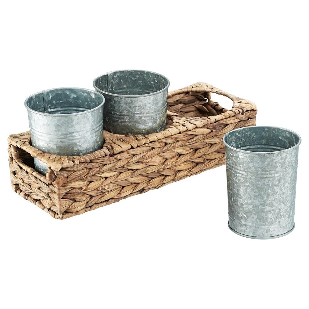 Image of Artland 4pc Garden Terrace Silverware Caddy, Brown Silver
