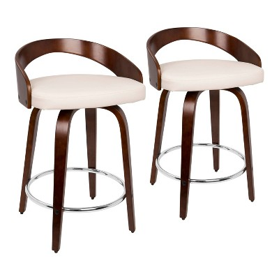 Set of 2 Grotto Mid Century Modern Counter Height Barstool with Swivel Faux Leather Cherry/White - LumiSource