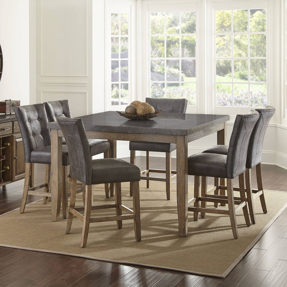 7pc Debby Counter Height Dining Set Gray Chair - Steve Silver