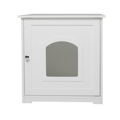 zoovilla Kitty Litter Loo Indoor Hidden Litter Box Furniture Enclosure with Framed Panels and Arched Doorways, White