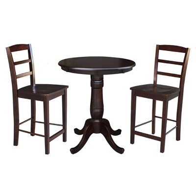 3pc Solid Wood Round Pedestal Counter Height Table and 2 Madrid Dining Sets - International Concepts