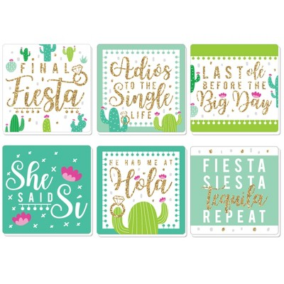 Big Dot of Happiness Final Fiesta - Funny Last Fiesta Bachelorette Party Decorations - Drink Coasters - Set of 6