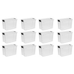 Sterilite 30 Quart Ultra Latch Storage Box w/ White Lid & Clear Base, 12 Pack