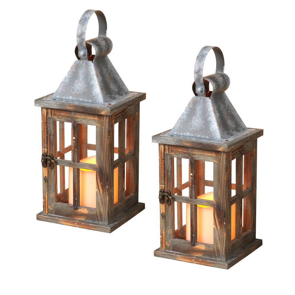 "Image of ""11""""/2ct Pine Wood Lanterns Decorative Figuring Set - Gerson International, Brown"""