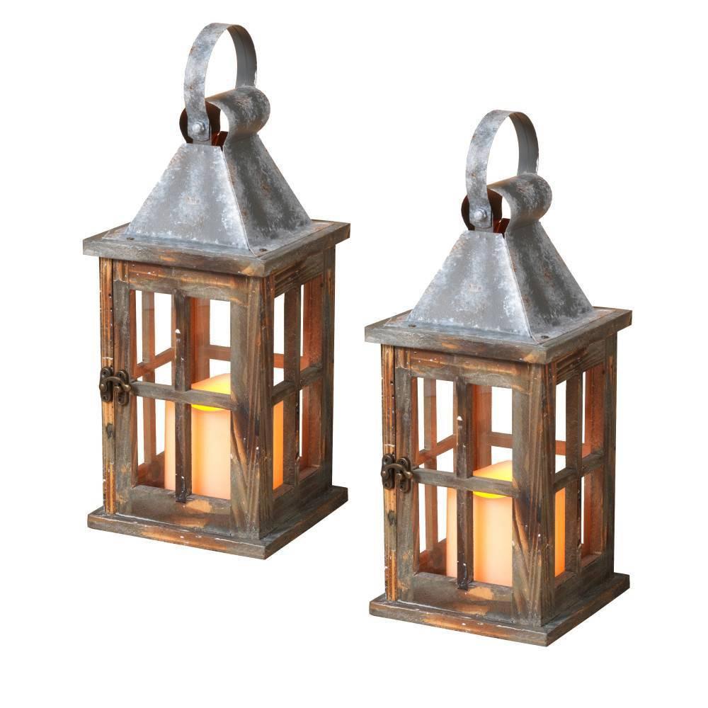 "Image of ""11""""/2ct Pine Wood Lanterns Decorative Figuring Set - Gerson International, Brown"""