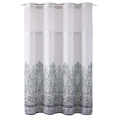 Damask Border Shower Curtain with Liner - Hookless