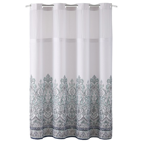Hookless Damask Border Shower Curtain with Liner Blue - image 1 of 6