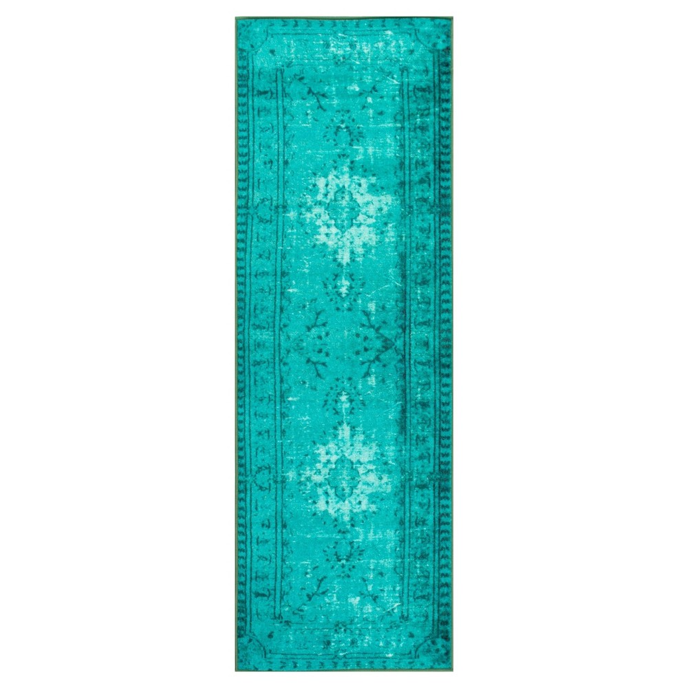 Green Abstract Loomed Runner - (2'8x8') - nuLOOM, Turquoise