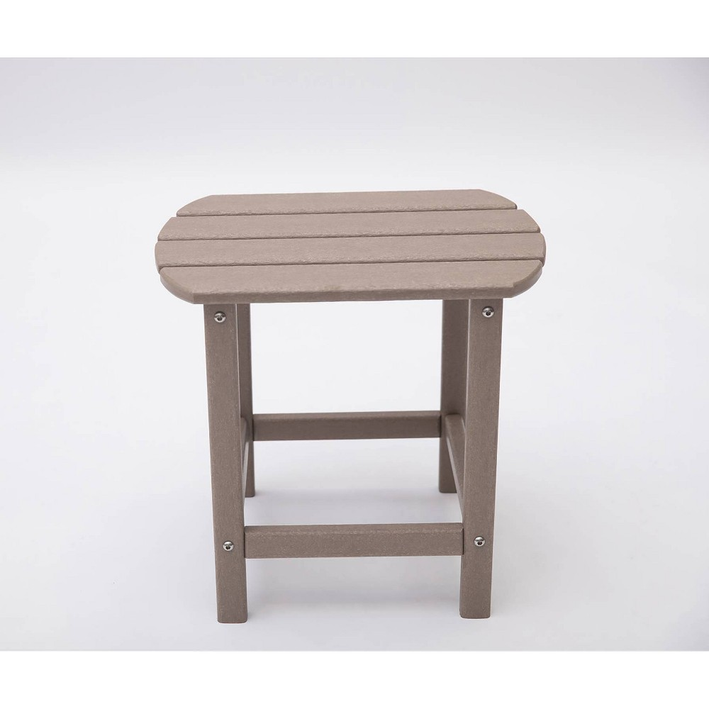 "Image of ""Corona 18"""" Recycled Plastic Side Table - Weather Wood - LuXeo"""