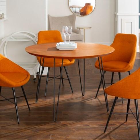 Round Table Orange.5pc Round Hairpin Dining Group With 4 Urban Chairs Orange Walnut Saracina Home