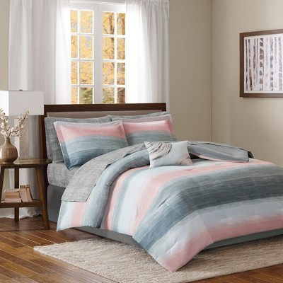 9pc King Seth Complete Comforter and Cotton Sheet Set Blush