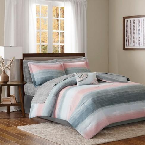 aa42e8321 Seth Striped Complete Multiple Piece Comforter Set (Queen) 9-Piece