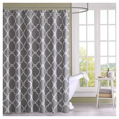 Sereno Geometric Fretwork Shower Curtain Grey
