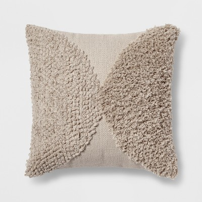Tufted Half Circle Square Throw Pillow Tan - Project 62™
