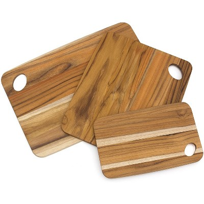 Lipper International Multi Size Small, Medium, and Large Versatile Home Carving/Cutting Boards, Set of 3, Teak Wood