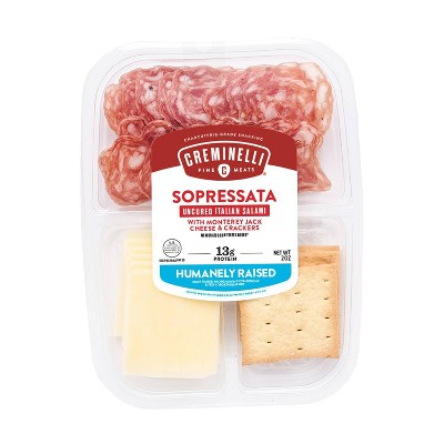 Creminelli Sliced Sopressata & Monterey Jack with Crackers - 2oz