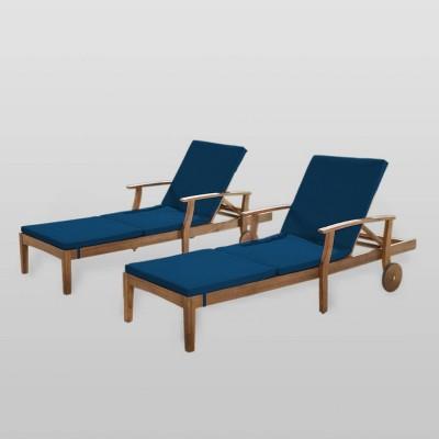 Perla 2pk Acacia Wood Chaise Lounge - Teak/Blue - Christopher Knight Home