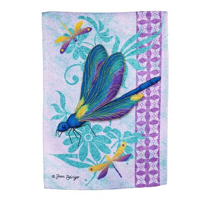 Evergreen Flag Dragonflies Garden Textured Suede Flag