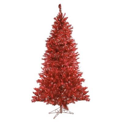 Santa's Own 7.5' Prelit Artificial Christmas Tree Tinsel - Ruby Lights
