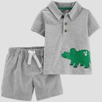Toddler Boys' 2pc Striped Dino Shorts Set - Just One You® made by carter's Gray 2T