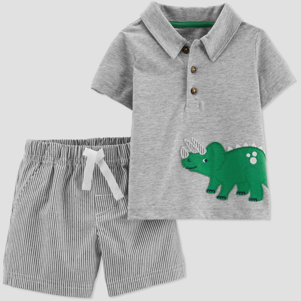 4cc90fc31c Toddler Boys 2pc Striped Dino Shorts Set Just One You made by ...