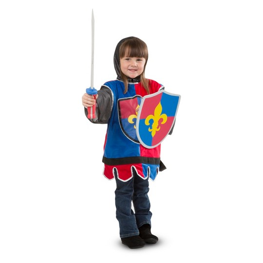 Melissa & Doug Knight Role Play Costume Dress-Up Set (4pc), Adult Unisex, Size: One Size, Gold image number null