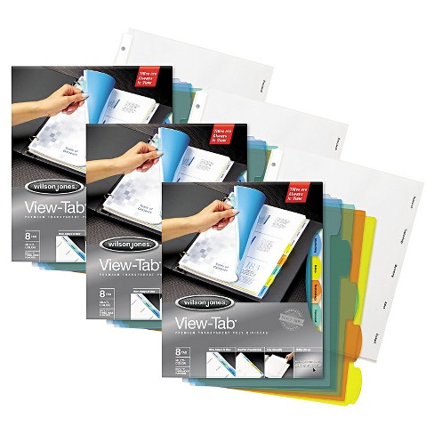 View-Tab™ 8tab Multicolor Transparent File Divider - 3 Pack - image 1 of 1