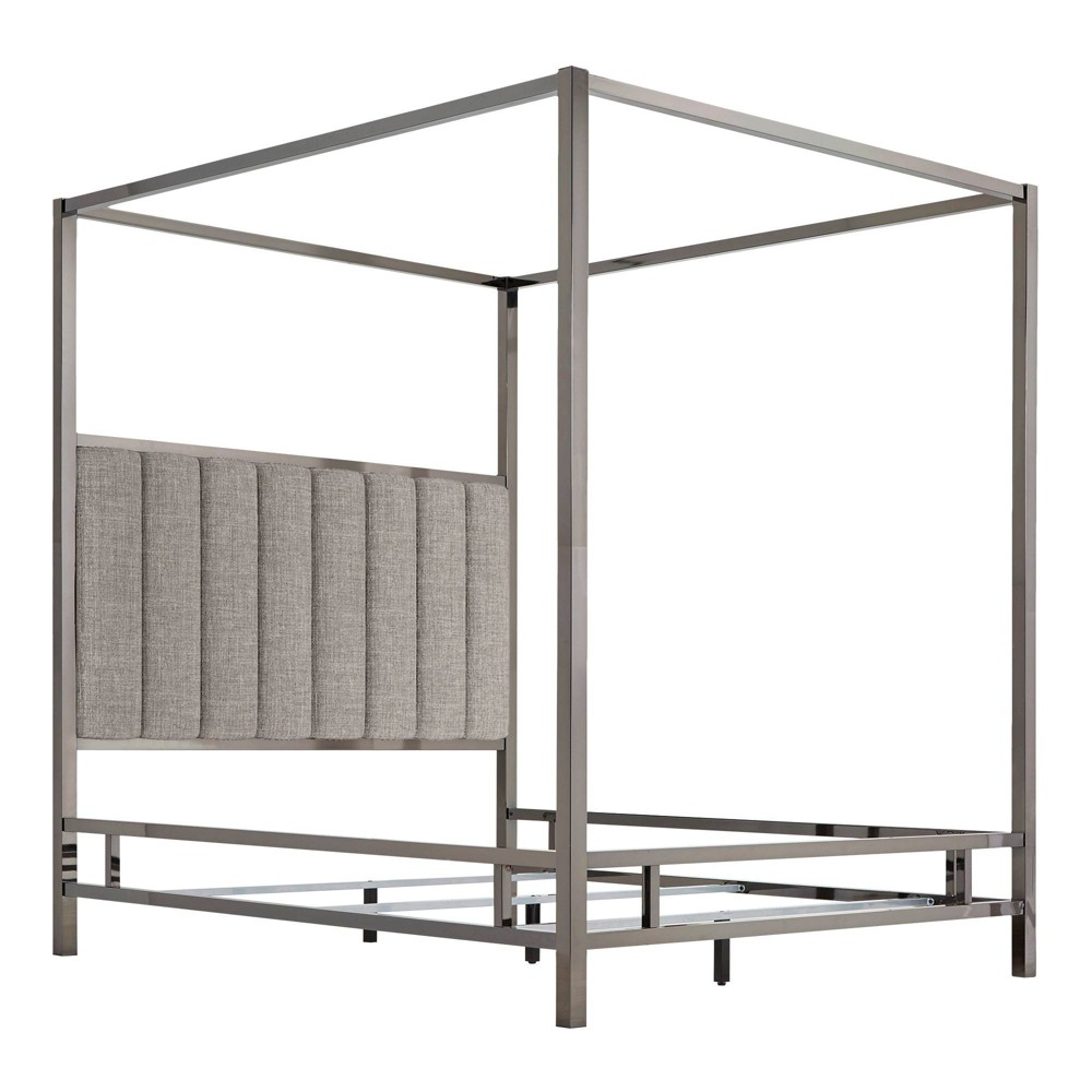 Full Manhattan Black Nickel Canopy Bed with Vertical Channel Headboard Smoke (Grey) - Inspire Q