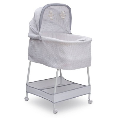 Simmons Kids' Elite Hands-Free Auto-Glide Bedside Bassinet Portable Crib Features Silent Smooth Gliding Motion That Soothes Baby - Basketweave