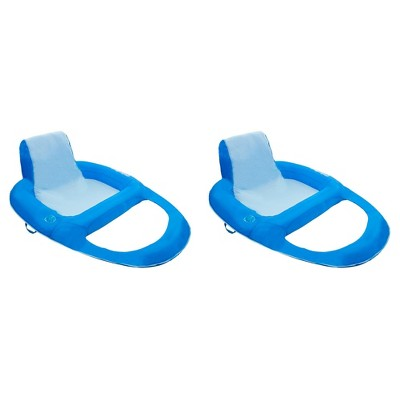 SwimWays 6060121 Spring Float Recliner Extra Large Summertime Relaxation Comfortable Lounge Seat with Cup Holder, Blue (2 Pack)