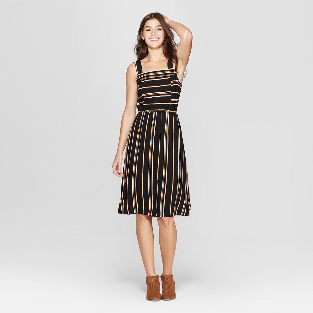 Women's Striped Strappy Square Neck Midi Dress - Xhilaration Black/Yellow L
