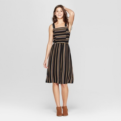 6c0bc42334dd Women s Striped Strappy Square Neck Midi Dress - Xhilaration™ Black Yellow