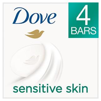 Dove Sensitive Skin Beauty Bar 4 oz, 4 Bar