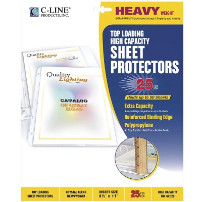C-Line High Capacity Poly Sheet Protectors, 8-1/2 x 11 Inches, Clear, pk of 25