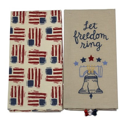 """Tabletop 26.0"""" Let Freedom Ring Dish Towel American Flag Liberty Bell Primitives By Kathy  -  Kitchen Towel"""