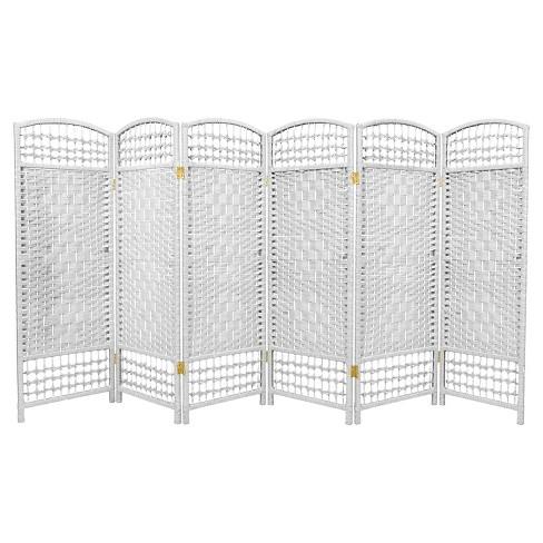 4 Ft Tall Fiber Weave Room Divider White 6 Panels Oriental