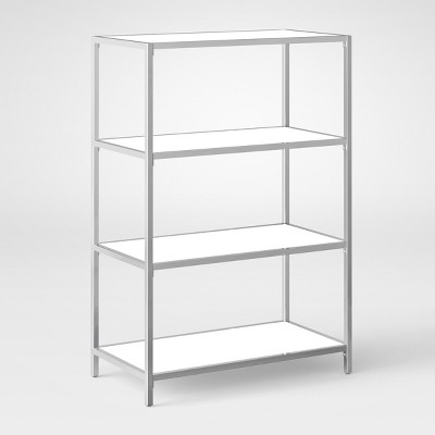 ronchamp 44 high gloss and chrome low bookcase white project 62 rh target com