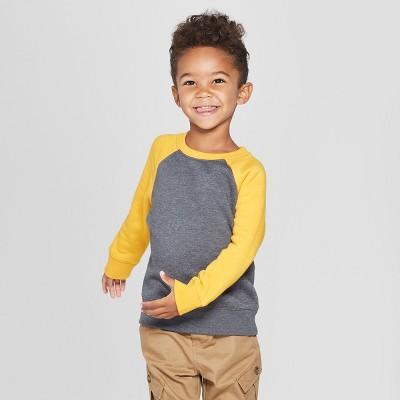Toddler Boys' Fleece Crew Raglan Sleeve Sweatshirt - Cat & Jack™ Black 18M