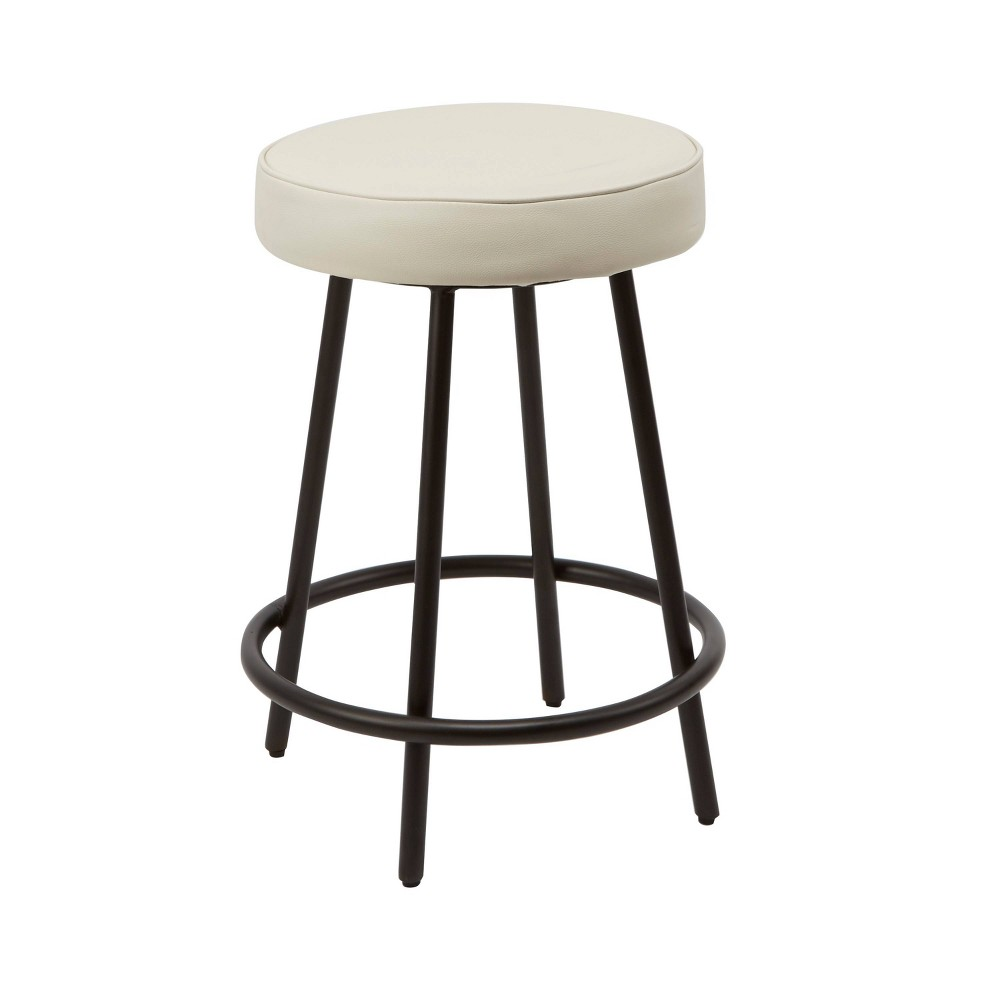 "Image of ""24"""" Carly Upholstered Round Backless Metal Barstool White - Silverwood"""