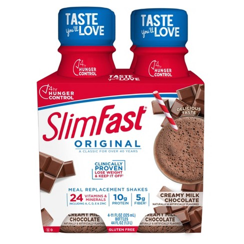 SlimFast Original Meal Replacement Shakes - Creamy Milk Chocolate - 11 fl oz/4pk - image 1 of 3