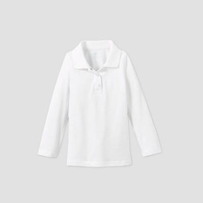 Toddler Girls' Adaptive Long Sleeve Polo Shirt - Cat & Jack™ White