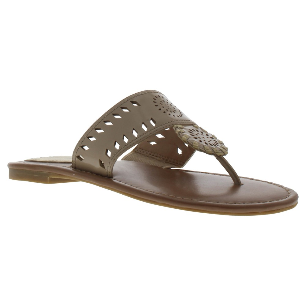Girls' Sam & Libby Athena Thong Flip Flop Sandals With Chop Out - Saddle 3