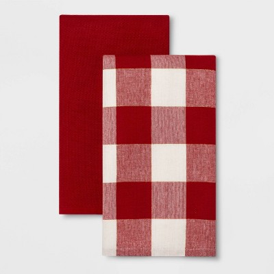 2pk Check Tea Towels Red - Threshold™