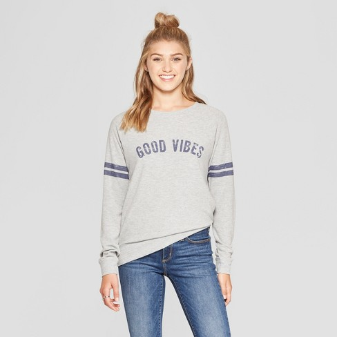 Women's Good Vibes Graphic Pullover Sweatshirt - Grayson Threads (Juniors') Heather Gray - image 1 of 2