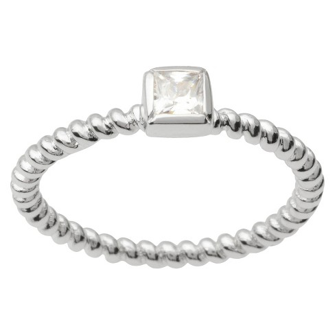 1/3 CT T.W. Square Cut Cubic Zirconia Bezel Set Bridal Style Ring in Sterling Silver (5) - image 1 of 4
