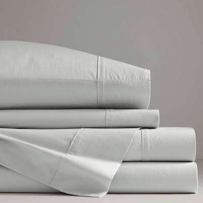 Queen Otto Solid Percale Cotton Sheet Set Gray - Now House by Jonathan Adler