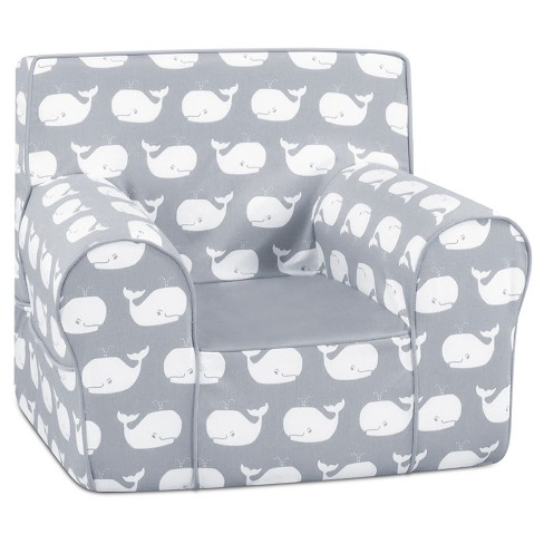Grab-N-Go Foam Chair With Handle - Whale Tales Storm White Twill With Pebbles Gray & White - Kangaroo Trading Co. - image 1 of 1
