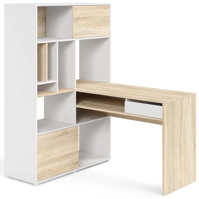 Foil Weston Bookcase Writing Desk in White-Tvilum - image 1 of 3