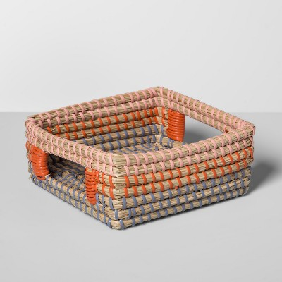 Seagrass Woven Napkin Holder 7.25  x 7.25  Brown/Orange - Opalhouse™