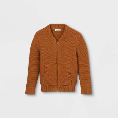 Toddler Boys' Sweater Knit Zip-Up Bomber Jacket - Cat & Jack™ Heather Gold